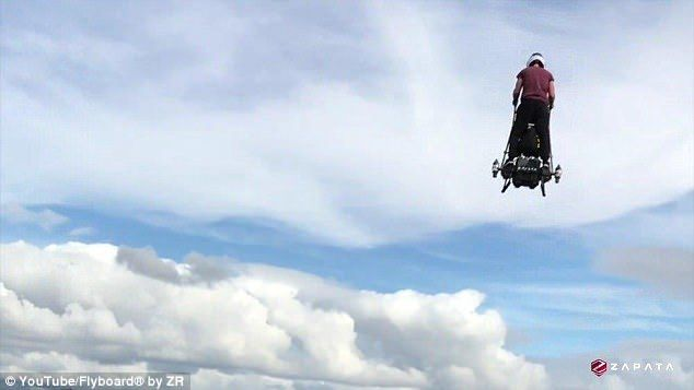 The 'Segway of the sky' that ANYONE can fly: French Flyboard inventor Franky Zapata reveals new Ezfly hoverboard that uses jet thrusters to zoom you through the air at 80mph