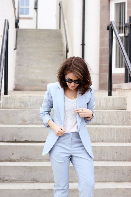 Amy of The Little Magpie, lends our baby blue trouser suit a sporty vibe in her latest post, Suit Up.