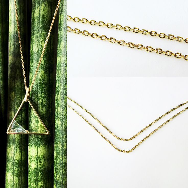 19 inch 14k Solid Yellow Gold Chain + 14k Gold triangle pendant Nitrogen (N). Collection of Elements by ivi.