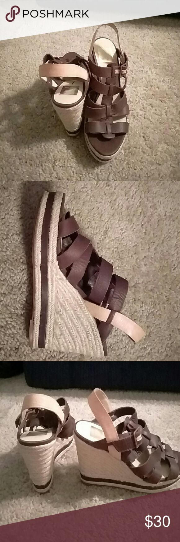 Dolce Vita Wedges, 4 inch wedge! Multicolored Cute chocolate and nude espadrille wedges, perfect with many outfits, for work or play! Dolce Vita Shoes Wedges
