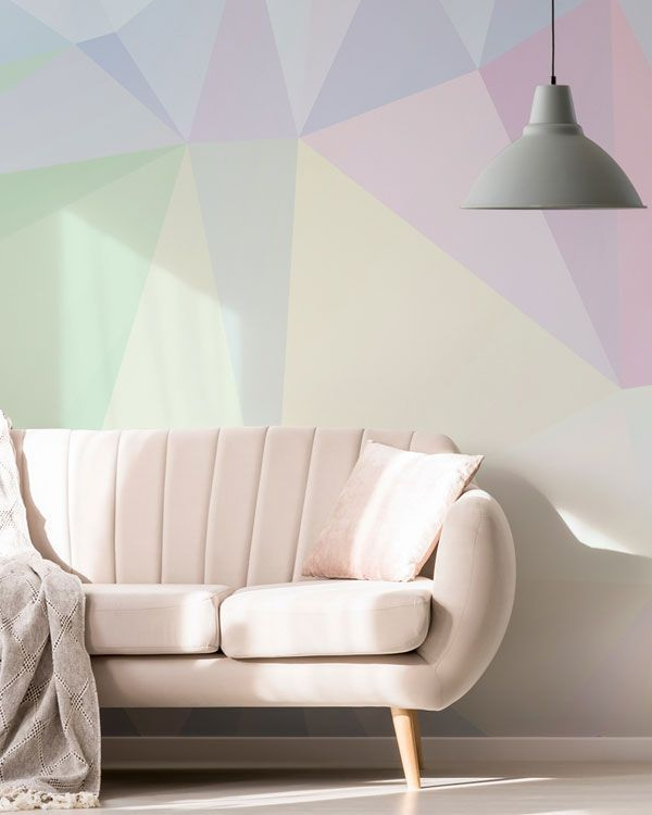 Polygon Pastel Wallpaper Mural Wallsauce Us Pastel Walls Pastel Living Room Pastel Room #pastel #coloured #living #room