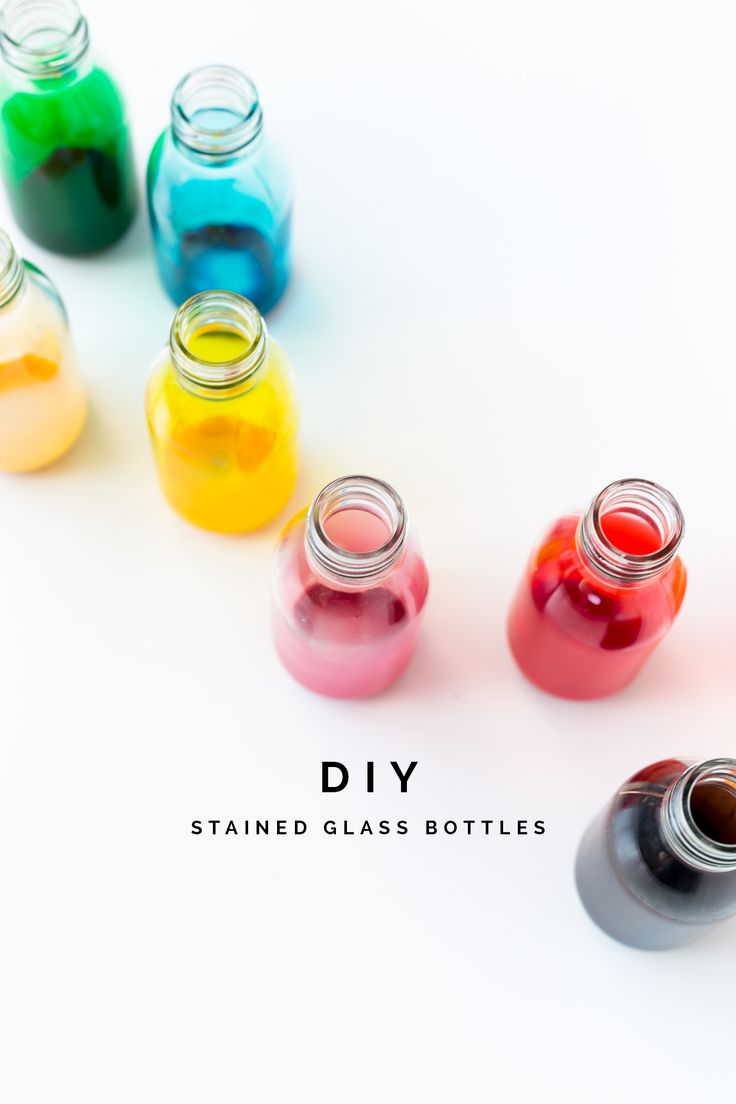 Back to school DIY Stained Glass Bottles for all your small stationary storage…