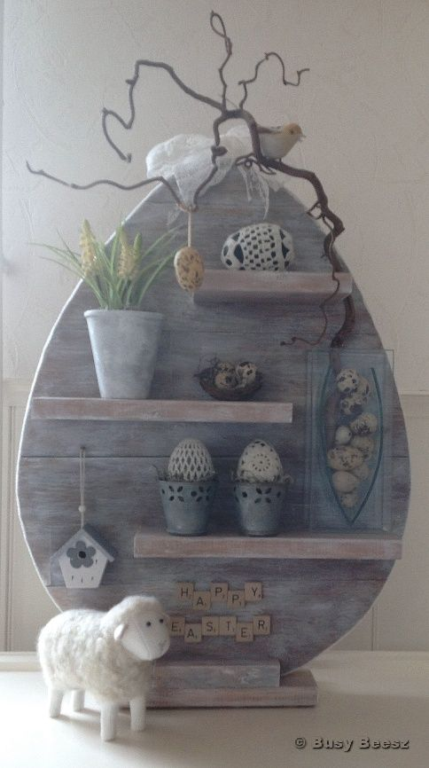 Easter Decorations | Egg Shaped Wooden Stand with Shelf.  White elegant home decor for the holidays.