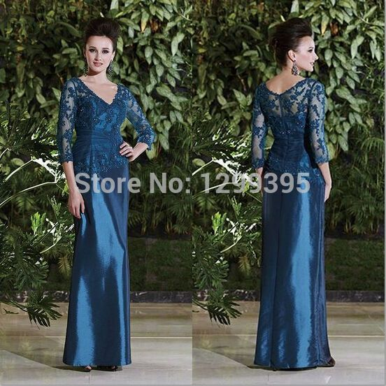 2015 New Arrival Navy Blue Satin Mother of Brides Dresses Lace Plus Size Formal Sheath Elegant Party Gown Vestido de Festa Longo US $129.20  Specifics Item Type	Mother of the Bride Dresses Decoration	Appliques is_customized	Yes Sleeve Style	Cap Sleeve Brand Name	Comebuy Dresses Fabric Type	Jersey Dresses Length	Floor-Length Silhouette	Sheath  Click link to buy other product http://goo.gl/p8JMyk