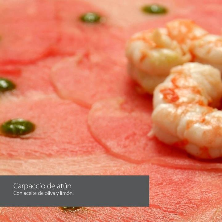 Carpaccio de atún con aceite de oliva y limón @ Grupo Cenacolo