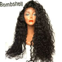 Bombshell 180% Heavy Density 16-26 Inch Blakc Long Loose Curly Synthetic Lace Front Wig Heat Resistant Fiber For Black Women