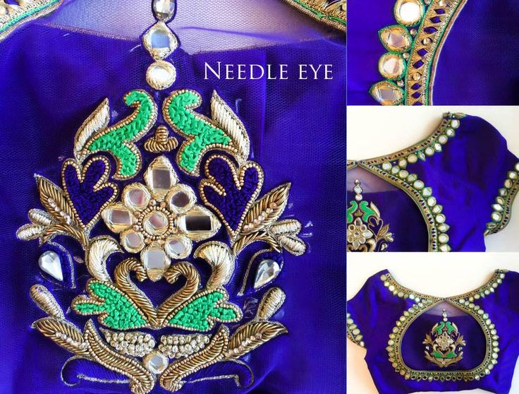 How can you miss on this elegant mirror work blouse!  Beautiful royal blue bridal designer blouse with hand embroidery thread and mirror work.