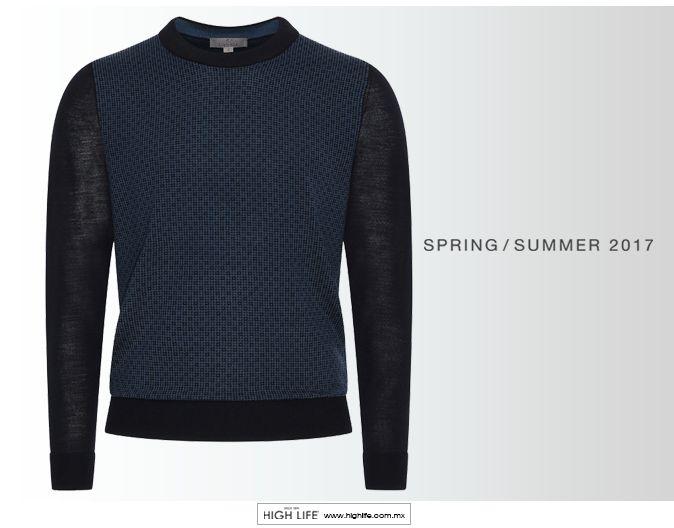 Adquiere un aspecto relajado, con un suéter de cuello redondo que contrasta elegantemente con sus mangas de color. #Canali