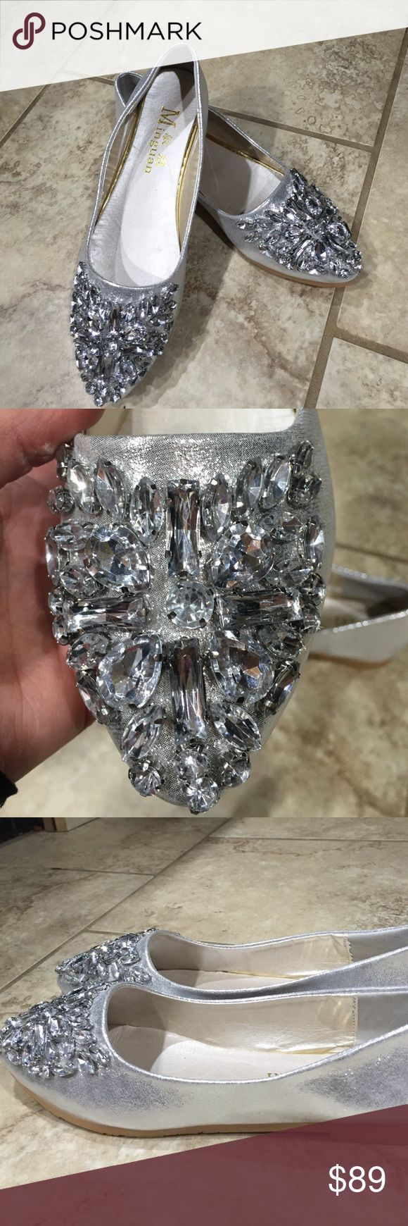 Nwt rhinestone super bling flat shoes wedding prom Nwt rhinestone super bling flat shoes wedding prom gorgeous silver ballet flats these are a gorgeous metallic sequin SO BLINGY AND FABULOUS Shoes
