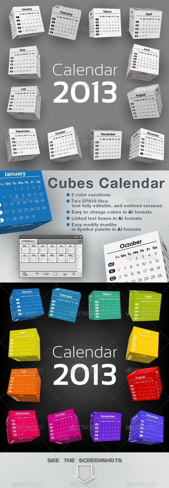 3D-Cubes Calendar 2013  #GraphicRiver         2 color schemes  INCLUDES : 	 	 .AI files: Illustrator CS vector format 		 .EPS files: EPS 10 vector format 		 .PDF files: Acrobat 6 compatible PDF format 		 .JPG files: High resolution JPG format (5000×5000 pixel) 	  	 Text fully editable in Ai formats, and converted to outline in EPS formats. Font: Sansation Free font, not included, Download link:  .dafont /sansation.font  	 In Ai formats easy to modify the following items: - To change text or…