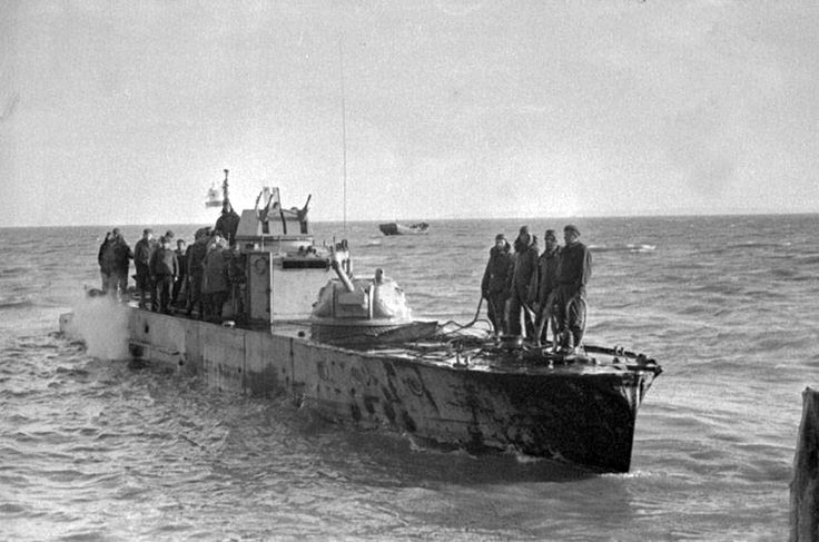 Soviet armored boat of 1124 project of Azov military flotilia at Kerch.