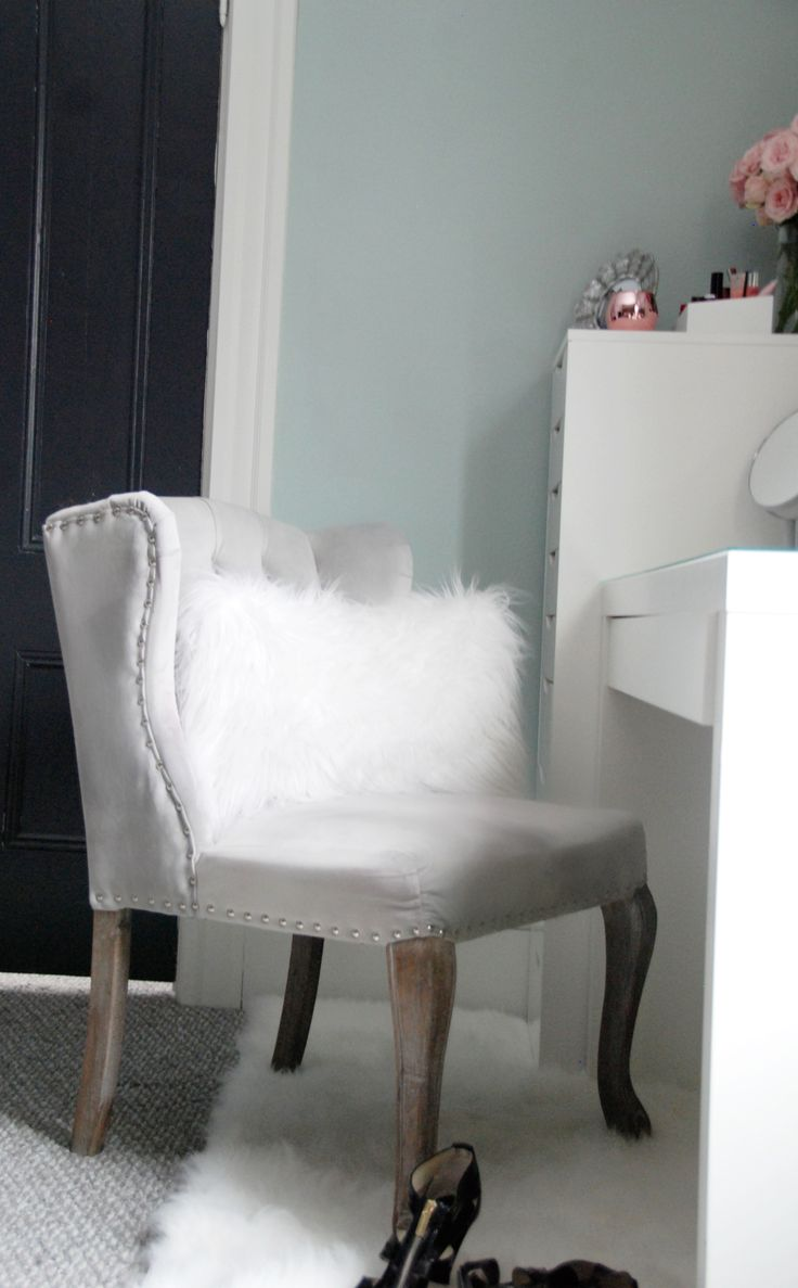 Beauty/vanity Area Tour With Anthropologie Wallpaper And IKEA Malm Dressing  Desk And IKEA Alex. White Furry RugAnthropologie ...