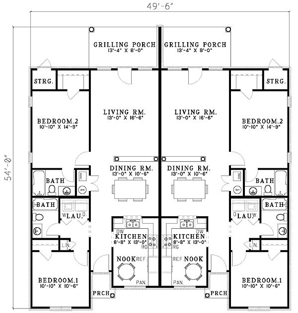 45 best duplex plans images on pinterest small homes for Single storey duplex designs