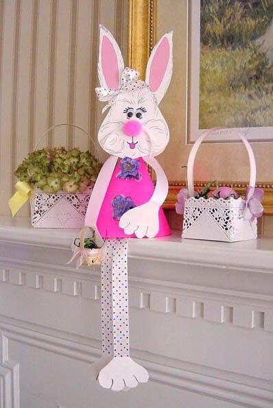 Easter paper craft, Easter table decor, DIY Easter bunny decoration #Homemade Easter Bunny Crafts for 2014 Easter