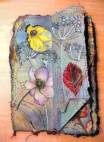 Autumn Spread -- a richly embellished hard-back book with windows and flaps using found objects, threads, beads and embroidery.