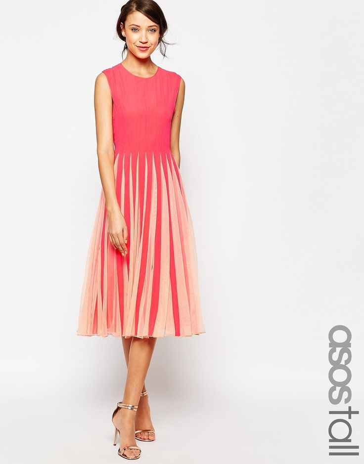 ASOS TALL Mesh Insert Fit And Flare Dress