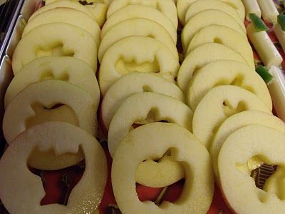 Apple slices with the cores removed using mini cookie cutters. Serve with caramel dip