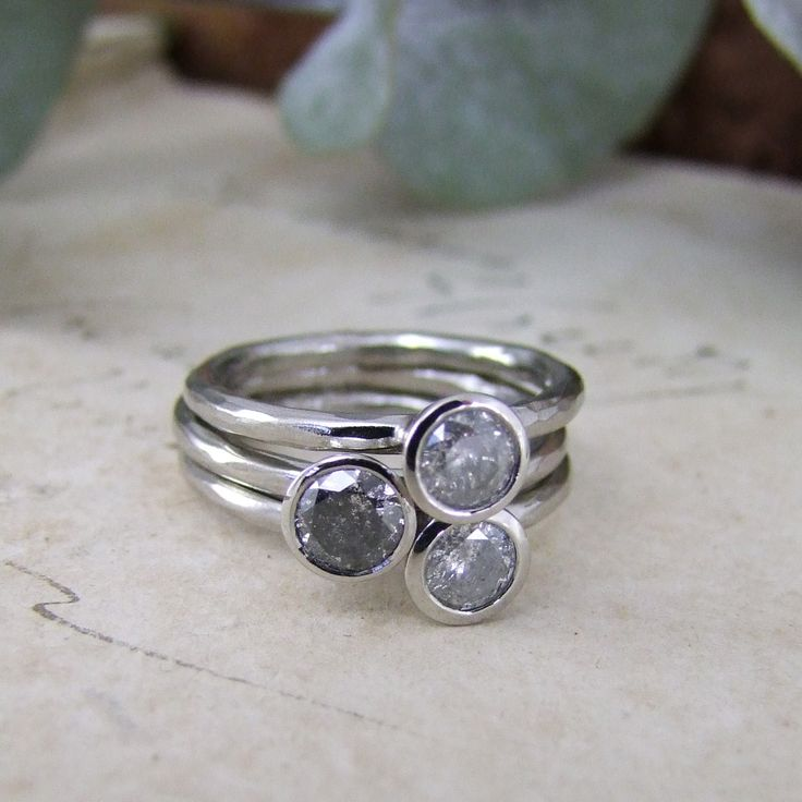 Handmade grey diamond stacking rings by Alexis Dove, handmade in the UK