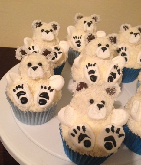 "- Polar bear cupcakes. Reverse & make vanilla cupcakes w/ ""grizzly bears"" on top"