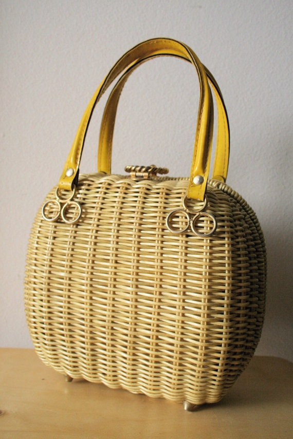 Vintage 1970s Wicker Handbag with Metal Clasp and by zabbaleen, $39.00