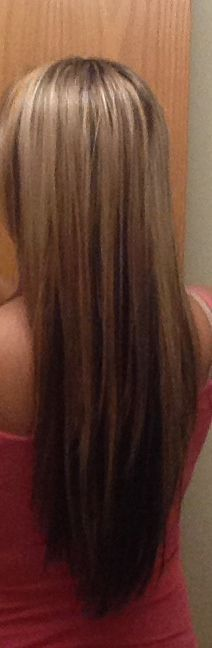 My hair straightened. V cut. Blonde on top with natural brown underneath. See Michelle Malacon www.williamjameshair.com