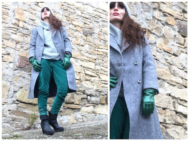 #coat #ootd #fashion #green #grey #gloves #beanie #vintage #winter #accessories
