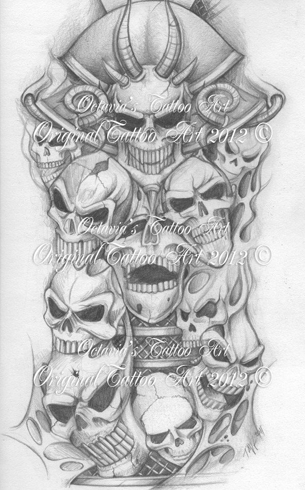 Skull half sleeve tattoo design for men 3jpg 600964