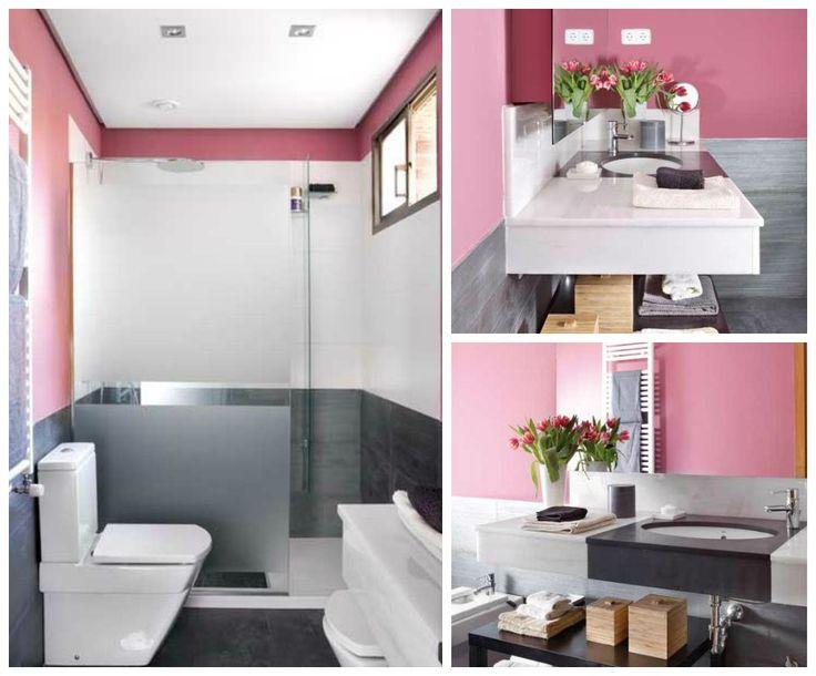 Проект небольшой розово-серой ванной комнаты  Больше выбора в каталоге: http://santehnika-tut.ru #санузел #плитка #сантехника