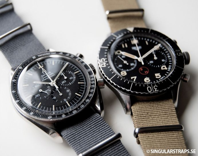 Two great chronos next to each other: Omega Speedmaster Professional and Heuer Bundeswehr