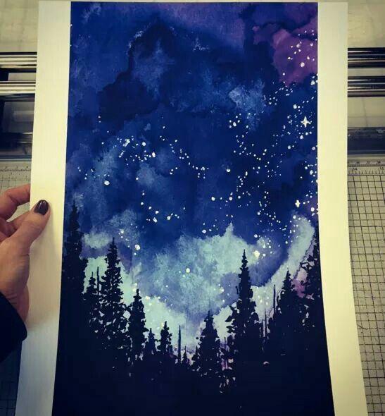 Night sky in dreamy watercolors. (: https://www.instagram.com/jessillustrator/)