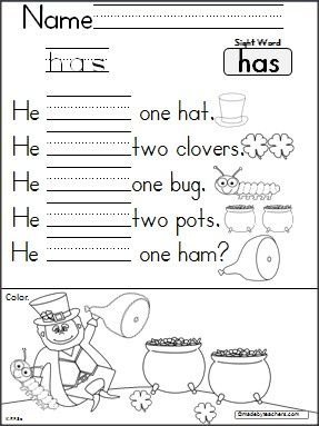 This is a St. Patrick's Day reading and writing activity for the word -has- {freebie}