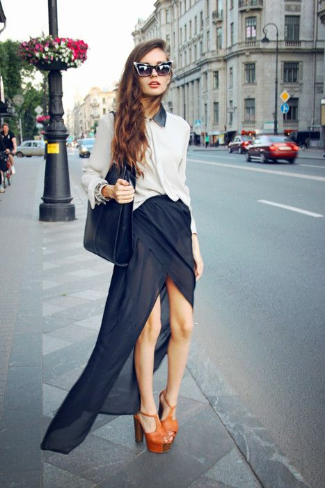 Shop this look on Lookastic: https://lookastic.com/women/looks/dress-shirt-maxi-skirt-heeled-sandals-tote-bag-sunglasses/10278   — White and Black Chiffon Dress Shirt  — Black Leather Tote Bag  — Black Slit Chiffon Maxi Skirt  — Orange Leather Heeled Sandals  — Black Sunglasses