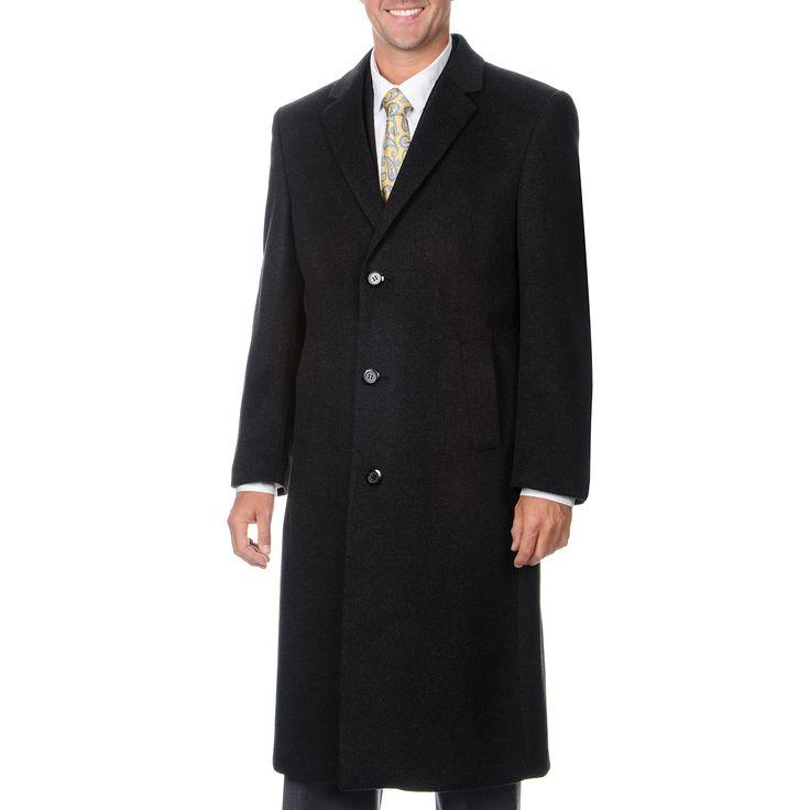 Montefino Pronto Moda Men's 'Harvard' Charcoal Blend Long Top Coat