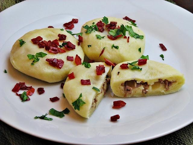 Kluski Slaskie - Meat dumplings in potato dough ....Polish Cooking