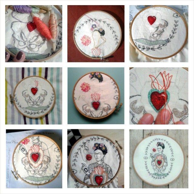 STEP by STEP | Frida  | filo di cotone su cotone #art #artoftheday #handmade #madeinitaly #ricamo #agoefilo #lettering #embroidery #textile #design #craft #fromanotheroom #rossellaogliarulo #rossellagiasai #artigianato #frida #FridaKahlo #MagdalenaCarmenFriedaKahlo