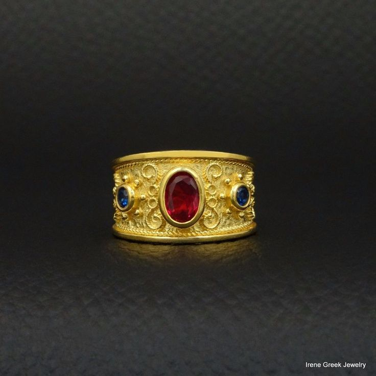 LUXURY RUBY SAPPHIRE CZ BYZANTINE 925 STERLING SILVER 22K GOLD PLATED GREEK RING #IreneGreekJewelry #Band