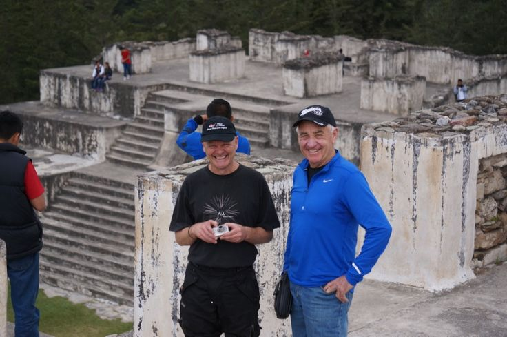 """Spike and Jeff at the pyramids: Our Ferris Wheels Motorcycle Safaris Tacos 'n' Tequila tour has entered exciting Guatemala. Check out the Mexico pix at https://www.pinterest.com/MotorbikeWriter/ferris-wheels-motorcycle-safaris-tacos-n-tequila-t/ or go to motorbikewriter.com and search for """"Mexico"""" or """"Guatemala""""."""
