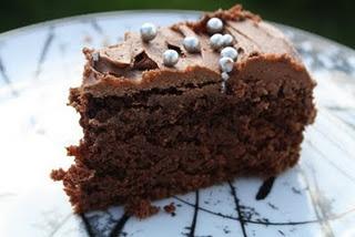 Juicy chocolate cake with o.j.