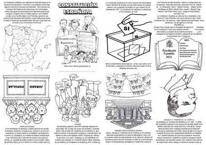"""Mini libro, para celebrar el día de la Constitución (6 de diciembre). Al imprimirlo asegúrate que está en """"ajustar al área de impresión"""" para que los dobleces y cortes sean los apropiados. Para el montaje los podéis ver en el artículo """"Fabricamos un pequeño libro"""".  Autor: Isidro Burgos Ramos …"""