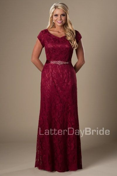 Jamie | This modest bridesmaid dress can function for bridesmaids and mothers alike! Dress your bridal party with luscious full lace and a flattering, embellished waistband.     Fabric - Lace and Lite Satin    *Dress shown in Burgundy    Available in store at Gateway Bridal | Home of the LatterDayBride Collection in SLC, UT | Or online at LatterDayBride.com