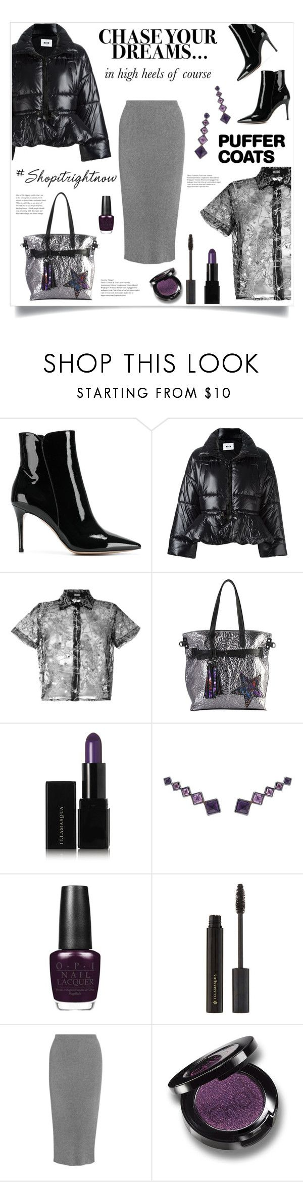 """""""Puffer Coat!"""" by diane1234 ❤ liked on Polyvore featuring Gianvito Rossi, MSGM, KTZ, Rimen & Co., Illamasqua, Lynn Ban, OPI, Thierry Mugler and Christina Choi Cosmetics"""