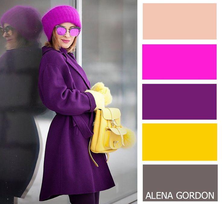 Fuschia, purple, yellow