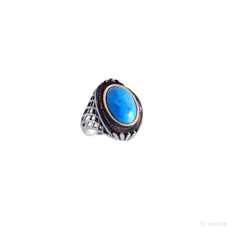 Δαχτυλίδι με Γαλαζια Πετρα σε Μασιφ Ασήμι 925⁰ με Τουρκουάζ Unisex