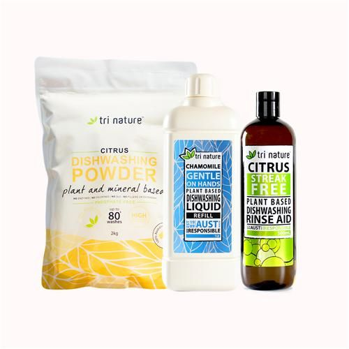 Swish Dish Pack. $55.45 for 160  loads worth of dishwasher powder, 500ml rinse aid (drying aid) and 1 litre of dishwashing liquid! Natural, no caustics or toxic ingredients. Family safe. Plant based. Australian Made.