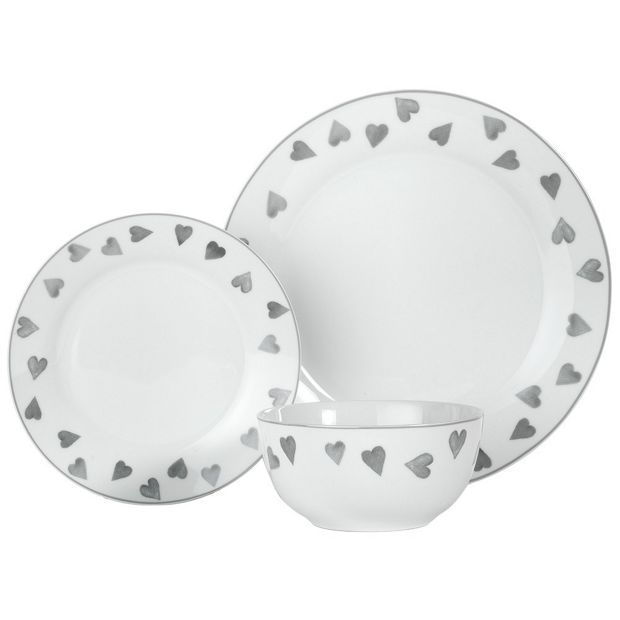 Buy HOME 12 Piece Porcelain Dinner Set - Grey Hearts at Argos.co.uk - Your Online Shop for Crockery, Tableware, Cooking, dining and kitchen equipment, Home and garden.