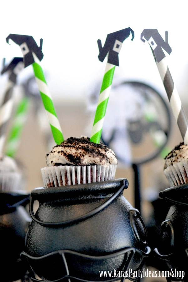 Witches Legs Halloween Cupcakes with Striped Straws via Kara's Party Ideas Ideas
