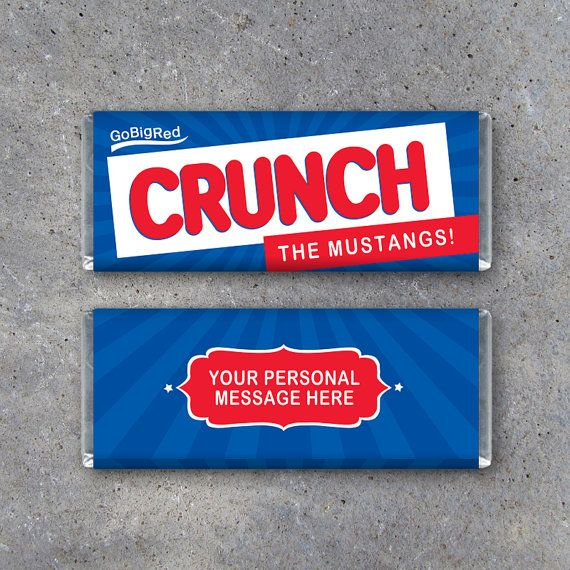 Crunch Candy Bar Wrapper Printable Personalized Sports