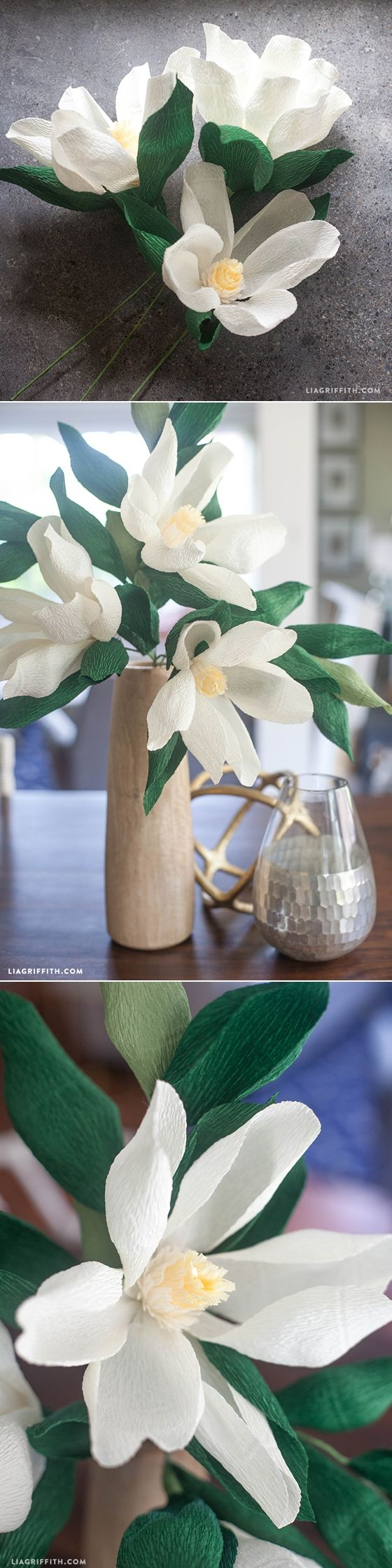 #paperflower #DIY #crepepaperflower #magnolia at www.LiaGriffith.com