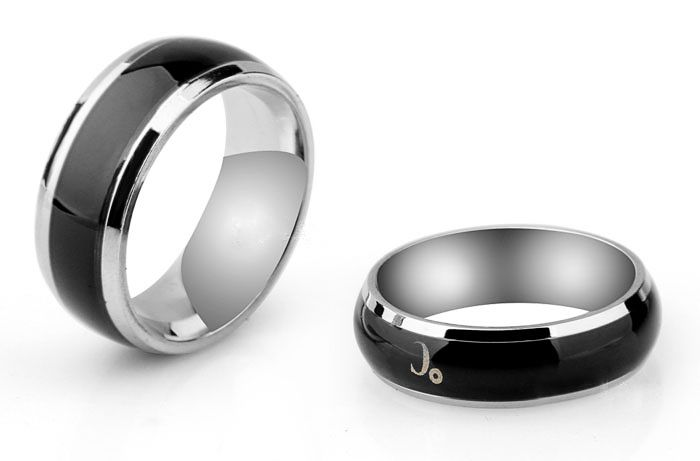 Creative Temperature Display Stainless Steel Couple Ring for Men Size 18 - Tmart