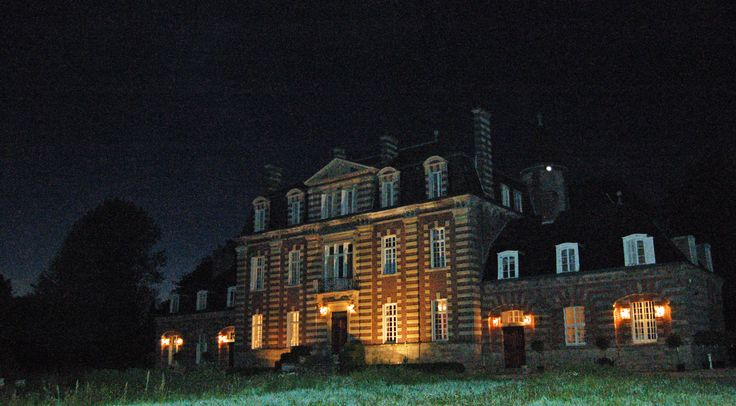 exterior of Chateau Sommesnil at night film location